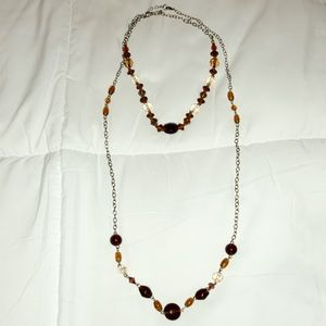 Set of Brown Bead Necklaces